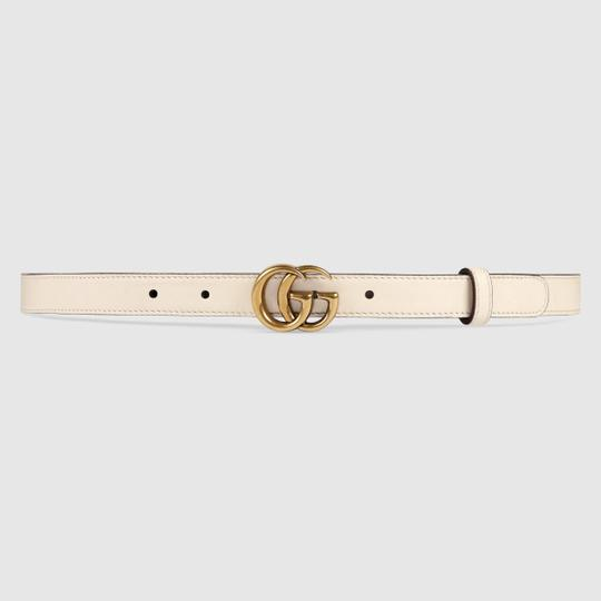 Gucci NEW Gucci Double G Marmont Belt Thin White .8cm 80 28-30 Image 2