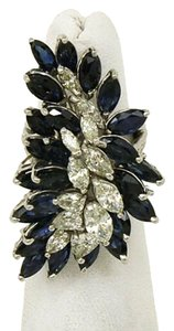 Other Marquise Diamonds & Sapphires 18k White Gold Long Finger Cluster Ring
