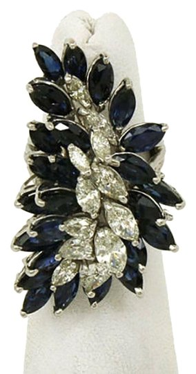 Other Marquise Diamonds & Sapphires 18k White Gold Long Finger Cluster Ring Image 0