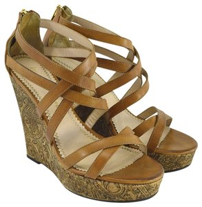 Jean-Michel Cazabat Leather Summer Sandal Hardware TAN/ BROWN/ GOLD Wedges