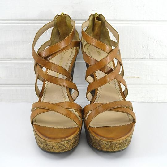 Jean-Michel Cazabat Leather Summer Sandal Hardware TAN/ BROWN/ GOLD Wedges Image 1