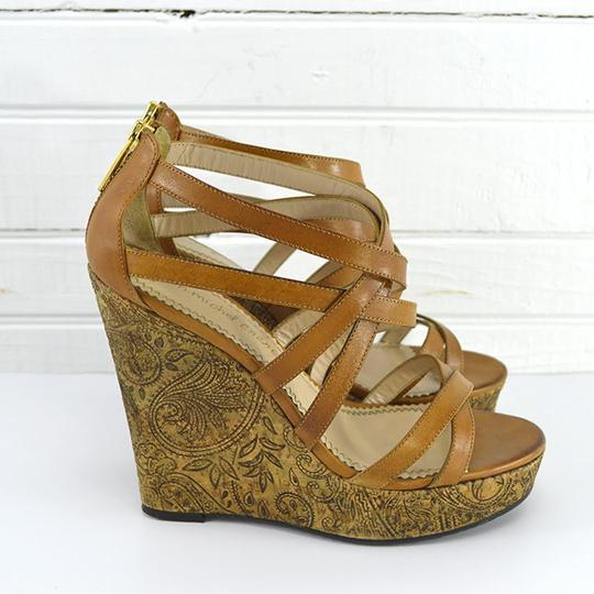 Jean-Michel Cazabat Leather Summer Sandal Hardware TAN/ BROWN/ GOLD Wedges Image 2