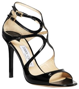 Jimmy Choo Strappy Black Patent Leather Sandals