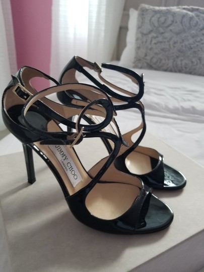 Jimmy Choo Strappy Black Patent Leather Sandals Image 1