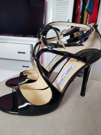 Jimmy Choo Strappy Black Patent Leather Sandals Image 3