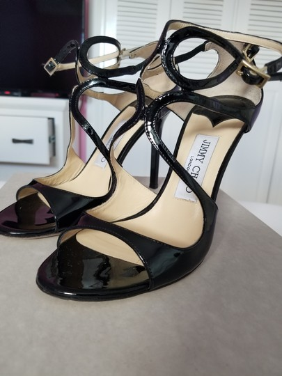 Jimmy Choo Strappy Black Patent Leather Sandals Image 5