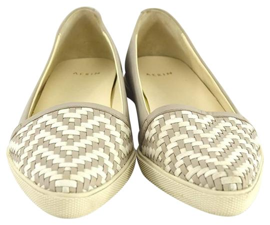 Aerin Leather Woven Summer Casual GREY/ WHITE Flats Image 0