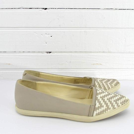 Aerin Leather Woven Summer Casual GREY/ WHITE Flats Image 1