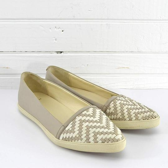 Aerin Leather Woven Summer Casual GREY/ WHITE Flats Image 2