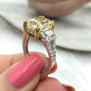 Fancy Yellow Light 18k White Gold Two Tone with 7.19ct Engagement Ring