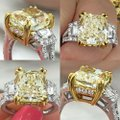 Fancy Yellow Light 18k White Gold Two Tone with 7.19ct Engagement Ring Image 2