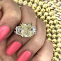 Fancy Yellow Light 18k White Gold Two Tone with 7.19ct Engagement Ring Image 3