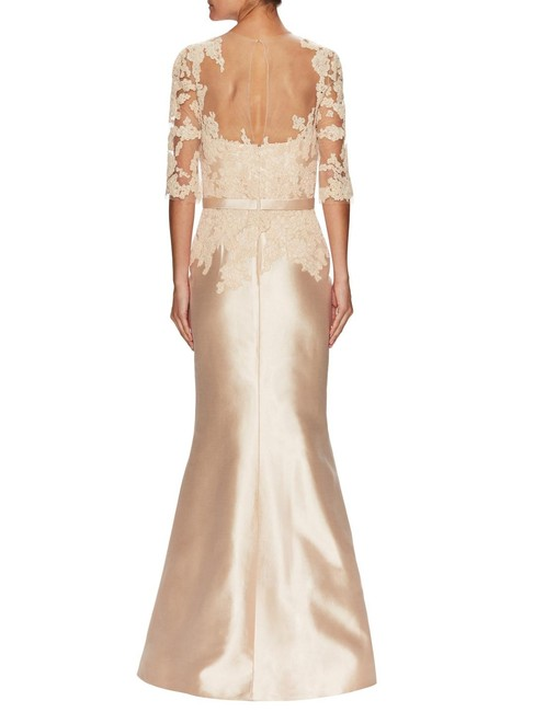 Reem Acra Embroidered Silk Mermaid Structured Dress Image 9