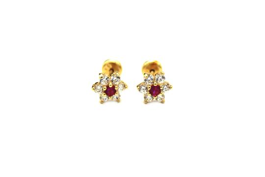 Other (988) 14K Yellow Gold CZ Flower Earrings Image 0