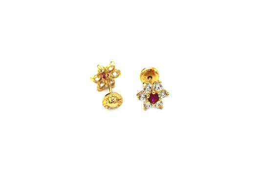 Other (988) 14K Yellow Gold CZ Flower Earrings Image 1