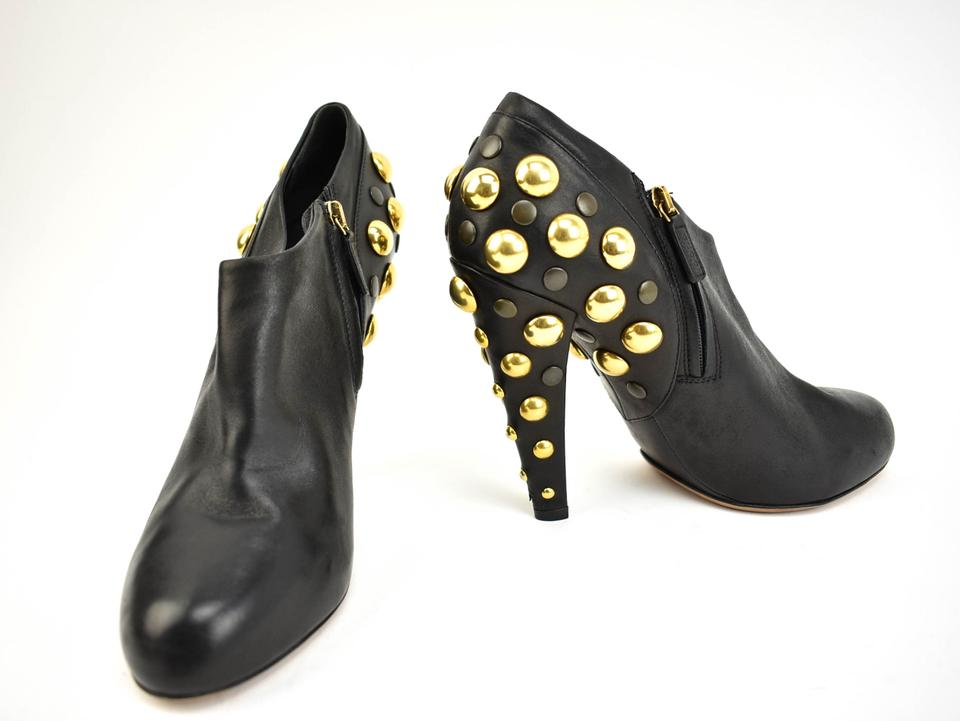 3251892a5 Gucci Black Leather Logo Gold Studded Ankle Boots/Booties Size EU 39 ...