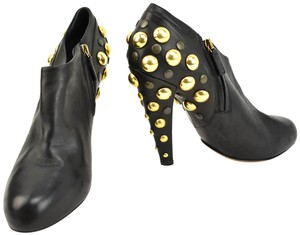Gucci Gold Studs Leather Black Boots