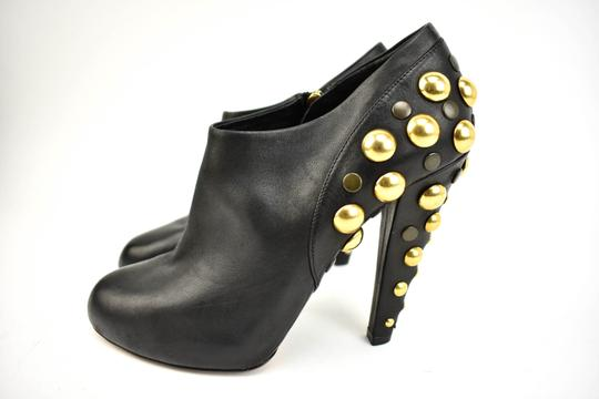 Gucci Gold Studs Leather Black Boots Image 1
