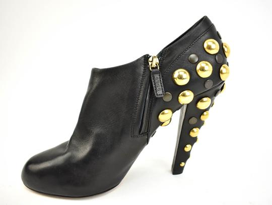 Gucci Gold Studs Leather Black Boots Image 2