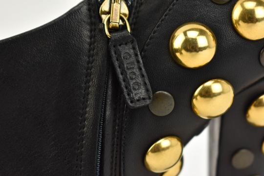 Gucci Gold Studs Leather Black Boots Image 3