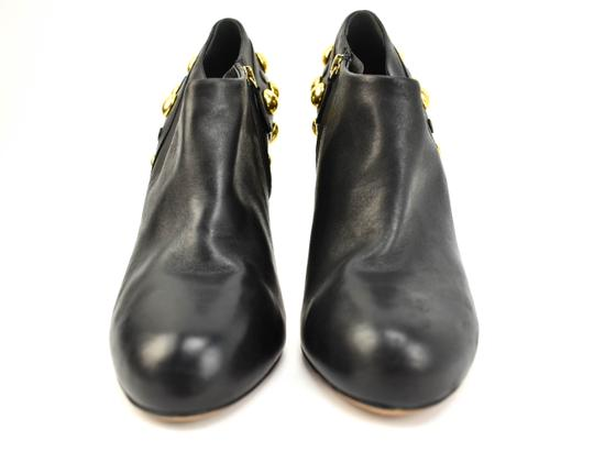Gucci Gold Studs Leather Black Boots Image 4