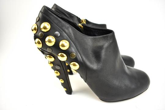 Gucci Gold Studs Leather Black Boots Image 5