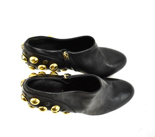 Gucci Gold Studs Leather Black Boots Image 7