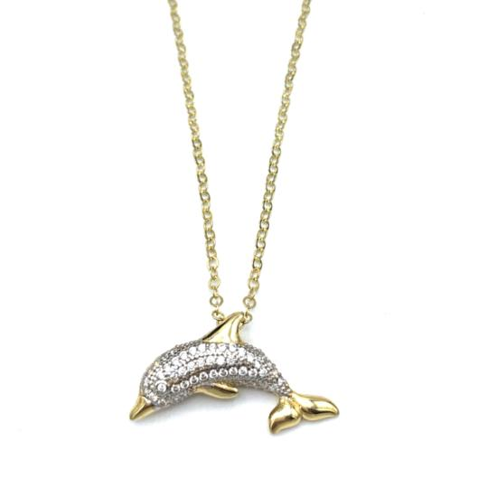Other (987) 14K Yellow Gold CZ Dolphin Necklace Image 1