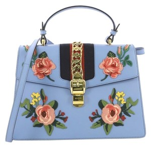 Gucci Sylvie Leather Satchel in Blue