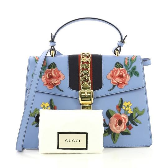 Gucci Sylvie Leather Satchel in Blue Image 1