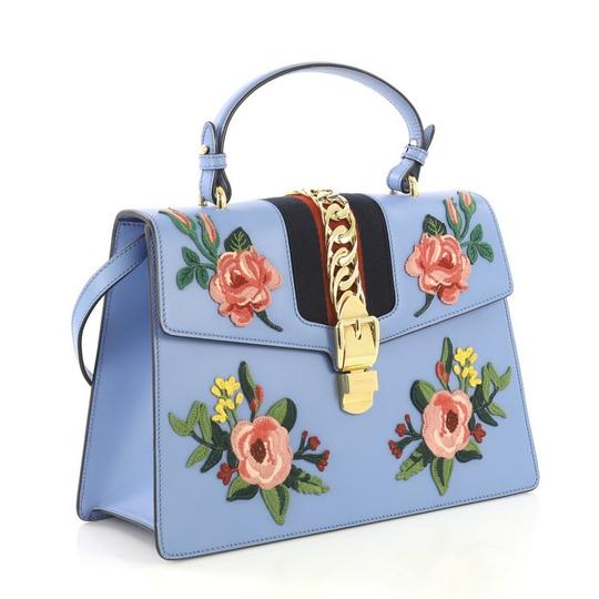 Gucci Sylvie Leather Satchel in Blue Image 2