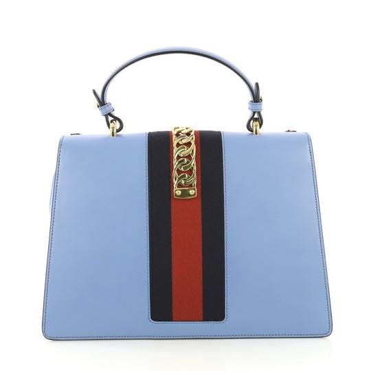 Gucci Sylvie Leather Satchel in Blue Image 3