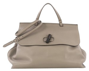 Gucci Leather Large Satchel in Gray