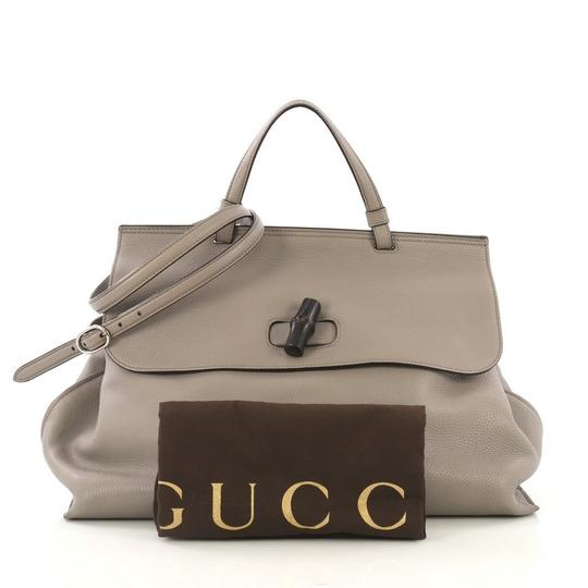 Gucci Leather Large Satchel in Gray Image 1