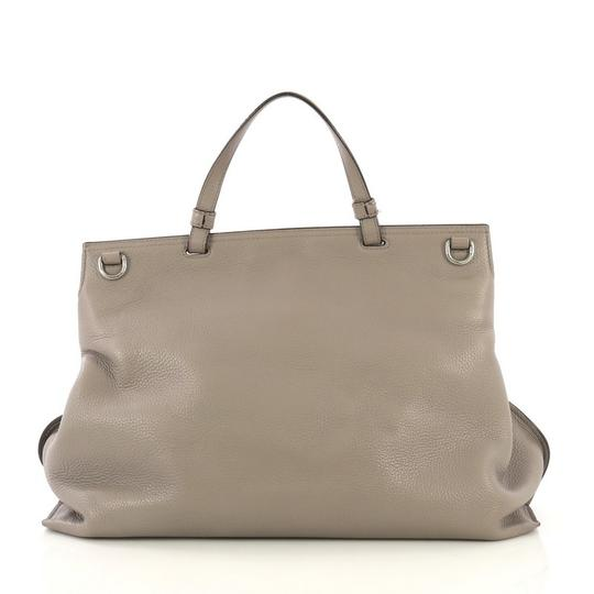 Gucci Leather Large Satchel in Gray Image 3