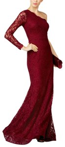 Xscape One Shoulder Lace Mermaid Gown Red Dress