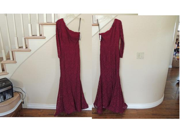 Xscape One Shoulder Lace Mermaid Gown Red Dress Image 1