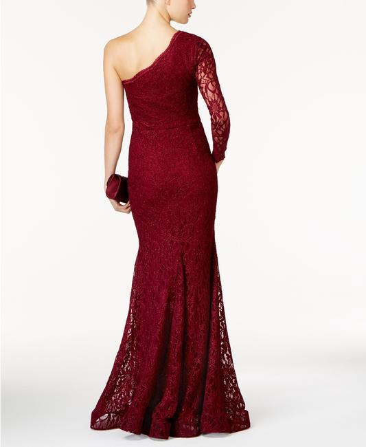 Xscape One Shoulder Lace Mermaid Gown Red Dress Image 2