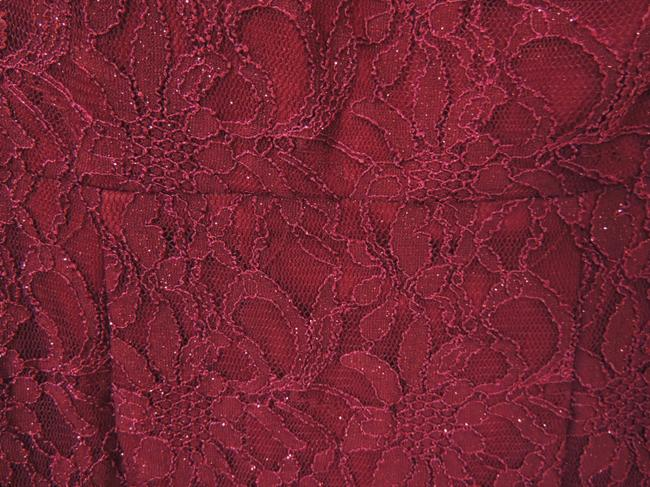 Xscape One Shoulder Lace Mermaid Gown Red Dress Image 3