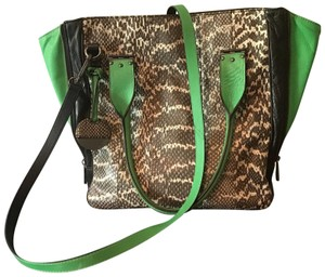 Hayden-Harnett Satchel in black snake skin with green leather accents
