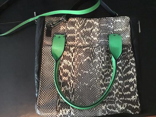 Hayden-Harnett Satchel in black snake skin with green leather accents Image 1