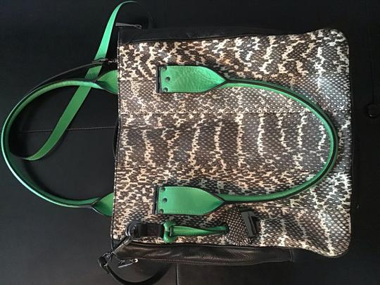 Hayden-Harnett Satchel in black snake skin with green leather accents Image 3