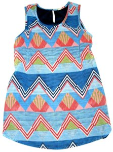JAPNA Hand Made Zig-zag Print Chiffon Sleeveless Swing Top Blue Red