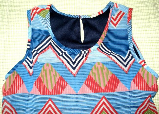 JAPNA Hand Made Zig-zag Print Chiffon Sleeveless Swing Top Blue Red Image 1