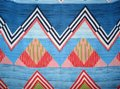 JAPNA Hand Made Zig-zag Print Chiffon Sleeveless Swing Top Blue Red Image 2