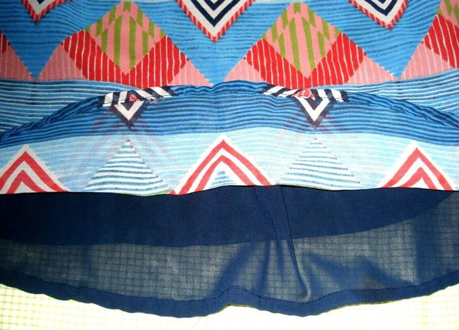 JAPNA Hand Made Zig-zag Print Chiffon Sleeveless Swing Top Blue Red Image 3