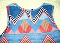 JAPNA Hand Made Zig-zag Print Chiffon Sleeveless Swing Top Blue Red Image 5