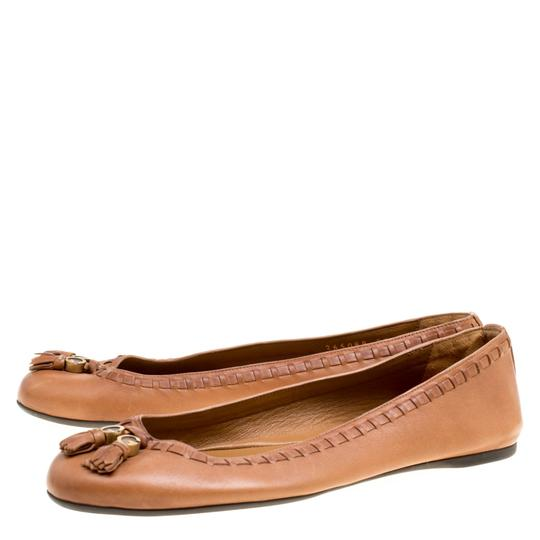 Gucci Leather Detail Ballet Brown Flats Image 3
