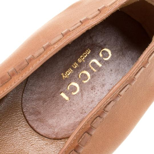 Gucci Leather Detail Ballet Brown Flats Image 6