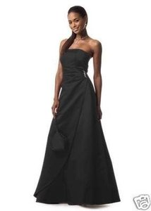 David's Bridal Black Satin Gown Formal Bridesmaid/Mob Dress Size 12 (L)